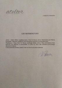 List referencyjny Atelier dla Foka Na Tarasie