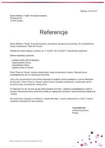 List referencyjny Studio Reklamy Grafik dla Foka Na Tarasie