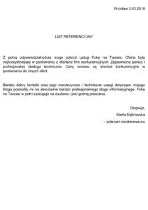 List referencyjny Karate News dla Foka Na Tarasie